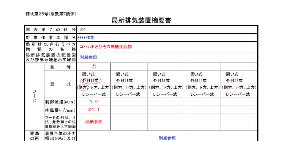 局所排気装置摘要(例)
